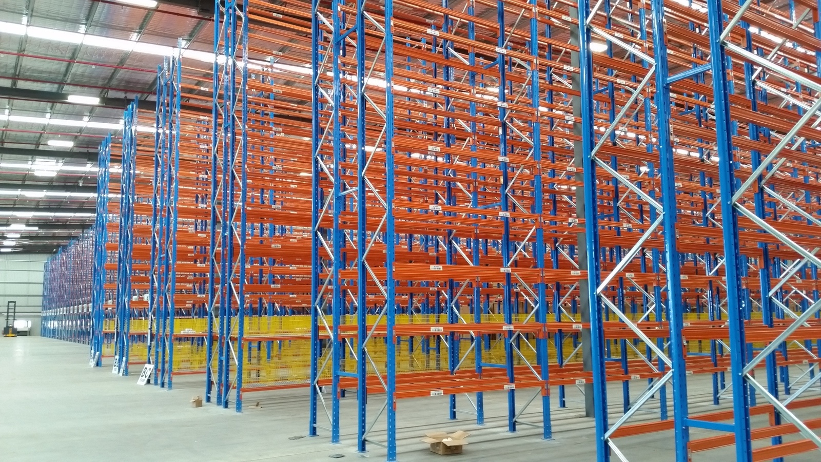 View of pallet racking system being installed