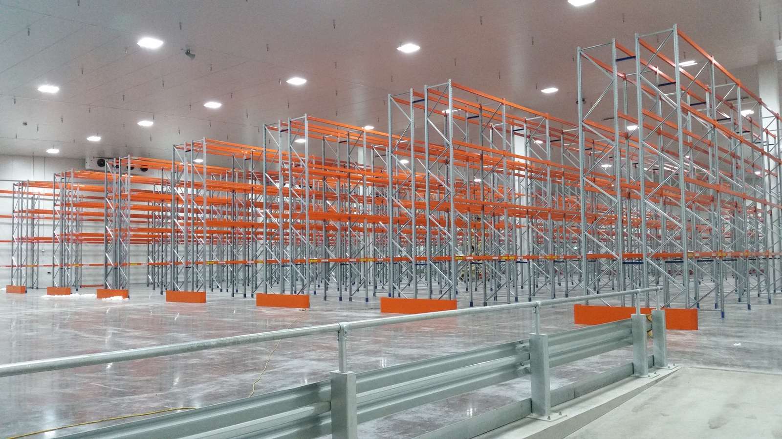 warehouse racking system being constructed
